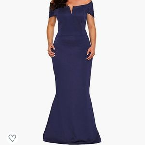Black off-shoulder mermaid gown